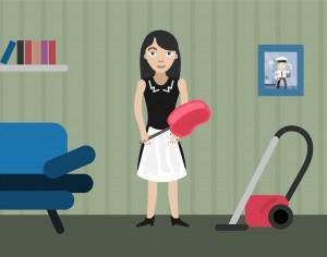 Charwoman profession vector character illustration Photoshop brush
