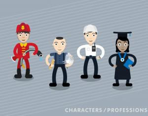 Vector characters in different professions Photoshop brush