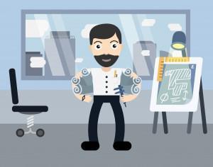 Architect profession vector character illustration Photoshop brush