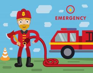 Fireman profession vector character illustration Photoshop brush
