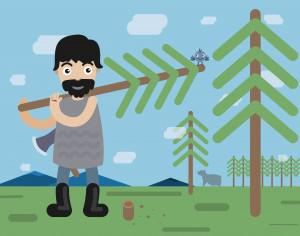 Lumberman profession vector character illustration Photoshop brush