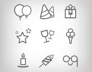 Vector icons for birhday or wedding design Photoshop brush