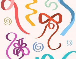 Vector ribbons illustration for birhday or wedding design Photoshop brush