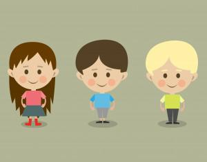 Vector cartoon children characters illustration Photoshop brush