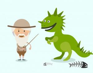 Vector cartoon dinosaur and men characters illustration Photoshop brush