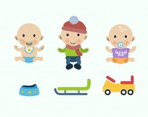 Vector cartoon baby characters illustration Photoshop brush