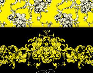 Seamless vector background. Baroque pattern and border. Photoshop brush