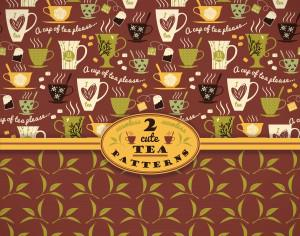 Tea background. Vector seamless pattern.  Photoshop brush