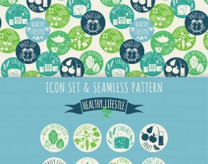 Healthy lifestyle. Icon set and seamless pattern Photoshop brush
