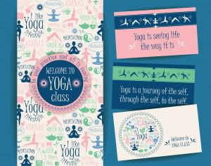 Design set for yoga class.  Vector pattern with illustration yoga lifestyle. Photoshop brush