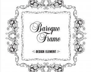Vector ornamental frame. Baroque pattern. Photoshop brush