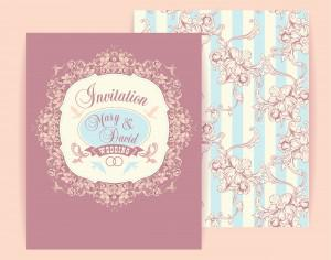Wedding invitation cards with floral elements. Vector illustration. Photoshop brush