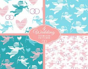 Wedding seamless pattern with angel. Vector illustration. Photoshop brush