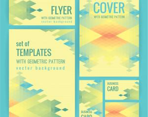 Set of business  templates with geometric pattern. Vector background. Photoshop brush
