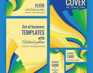 Set of business  templates with abstract pattern. Vector background. Photoshop brush