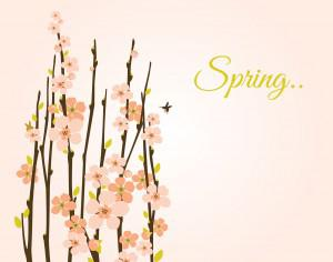 Vector spring background with flowering branches. Photoshop brush