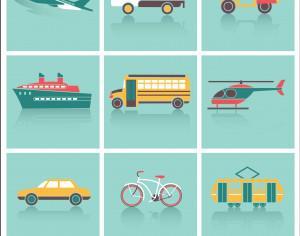 Transportation icons set Photoshop brush