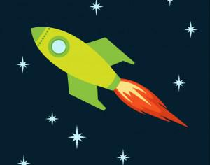 Rocket flying into space Photoshop brush