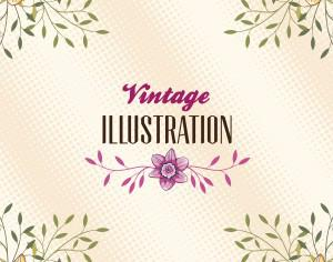 Vintage illustration with flowers and typography Photoshop brush