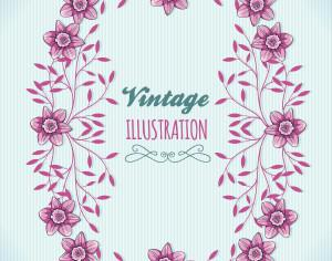 Vintage floral illustration with frame Photoshop brush