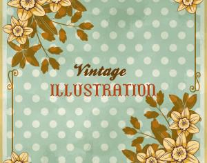 Vintage floral illustration with flowers, frame and typography Photoshop brush