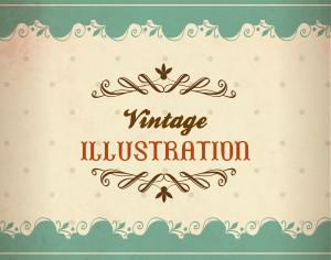 Vintage illustration with lace, flowers and typography Photoshop brush