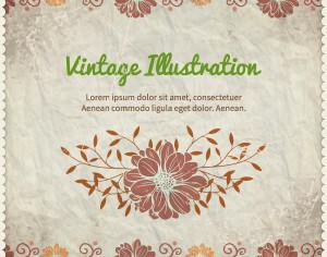 Vintage floral illustration with frame,typography and paper texture Photoshop brush