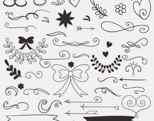 Set of doodle decorations Photoshop brush