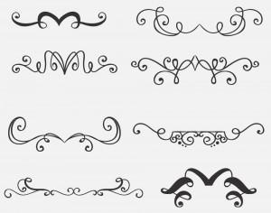 Vintage vector set of handdrawn decorations Photoshop brush