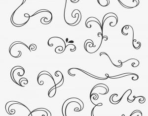 Vintage vector set of handdrawn decorations Photoshop brush