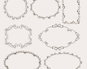Vintage vector set of ornamental frames Photoshop brush