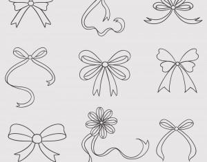 Vintage vector set of handdrawn bows Photoshop brush