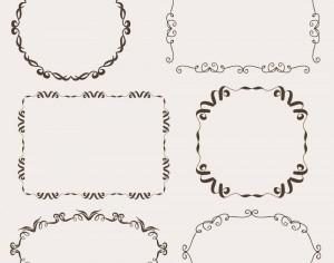 Vintage vector set of ornamental frames Photoshop brush