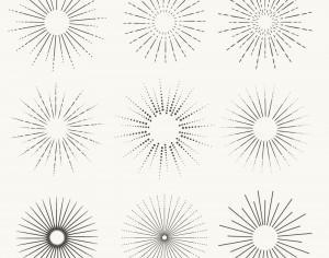 Vintage vector set of Sunbusrt and rays Photoshop brush