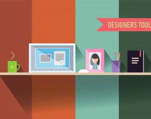 Designers table with tools. Vector illustration Photoshop brush