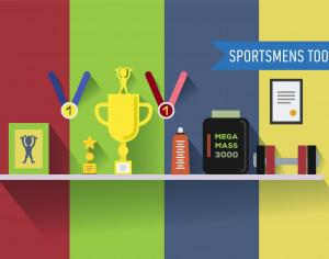 Sportsmens table with tools. Vector illustration Photoshop brush