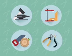 Tools objects for design. Vector illustration Photoshop brush