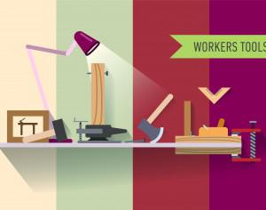 Tools objects on the table. Vector illustration for design Photoshop brush
