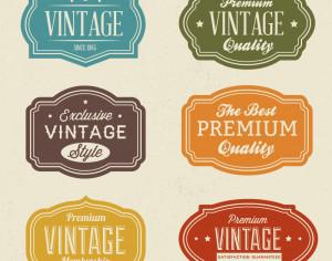 Vintage labels set Photoshop brush