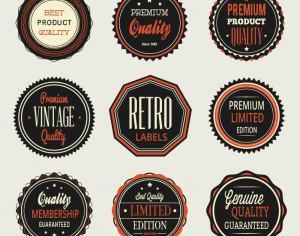 Vintage labels, badges set Photoshop brush