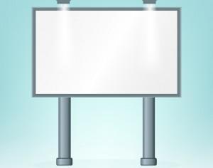 Blank billboard, on blue bacground, design  Photoshop brush