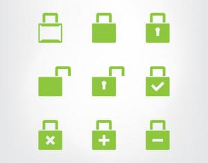 Set of green lock icons Photoshop brush