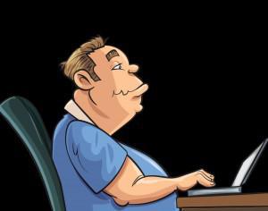 Fat man working on laptop Photoshop brush