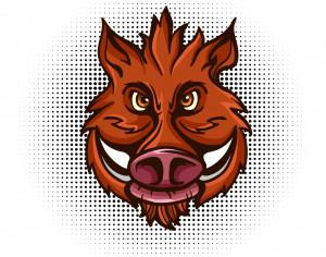 Vector wild boar head  Photoshop brush