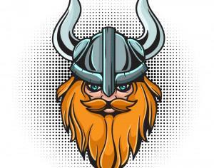 Cartoon viking head with helmet Photoshop brush