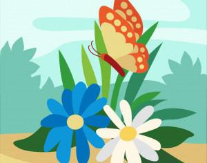 Colorful Butterfly lingering over Flowers Photoshop brush