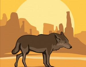 Desert Wolf at Sunset Photoshop brush