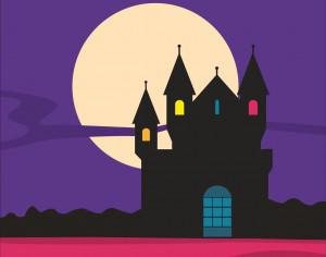 Mysterious castle silhouette with moon in the background Photoshop brush