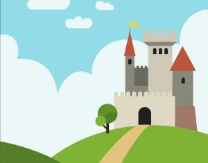 Castle on the hill with pathway Photoshop brush