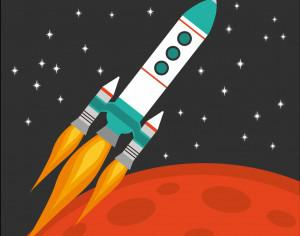 Rocket flying in space with red planet and stars on background Photoshop brush